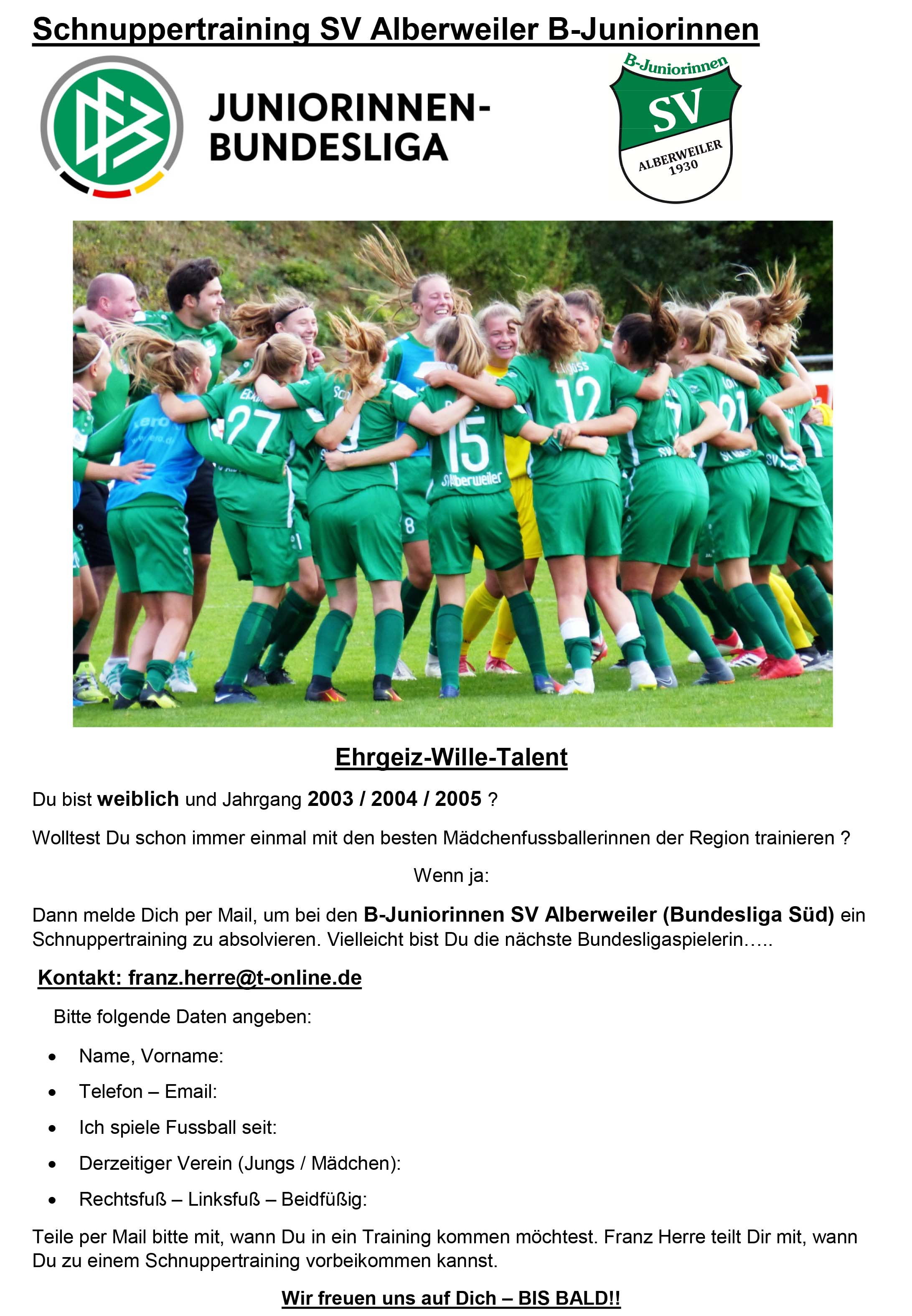 b juniorinnen talenttraining 2019